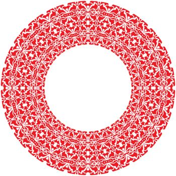 Vector round thick frame from red ornamentation
