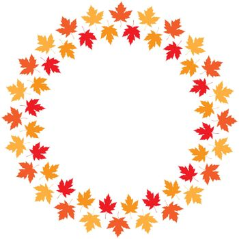Vector round frame from maple autumn leaves