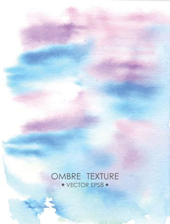 Hand drawn ombre texture. Watercolor painted light blue and violet background space for text.