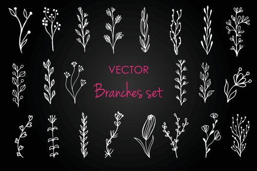 Set of vector vintage floral elements. Decoration elements for design invitation, wedding cards, valentines day, greeting cards