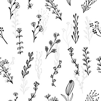 Abstract floral seamless pattern with branches and flowers
