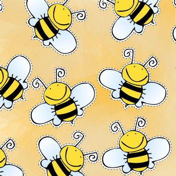 Hand drawn doodle bee pattern