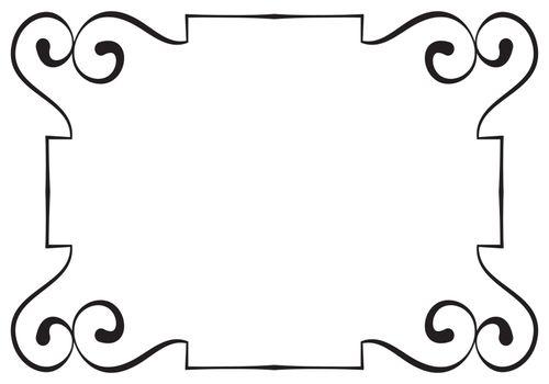 Vector horizontal black frame on a white background