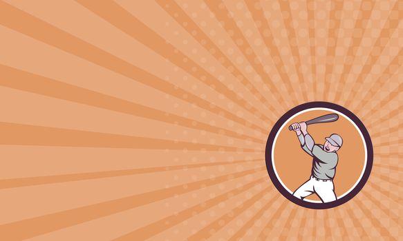 Business card American Baseball Player Batting Homer Circle Cartoon