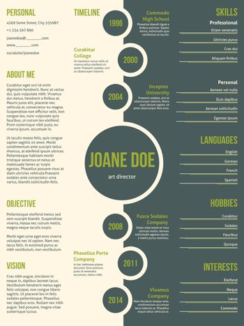 Simplistic resume cv template with dots and contrast