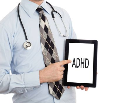 Doctor, isolated on white backgroun,  holding digital tablet - ADHD