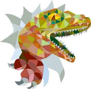 Raptor Breaking Out Low Polygon