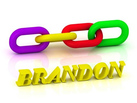 BRANDON- Name and Family of bright yellow letters and chain of green, yellow, red section on white background