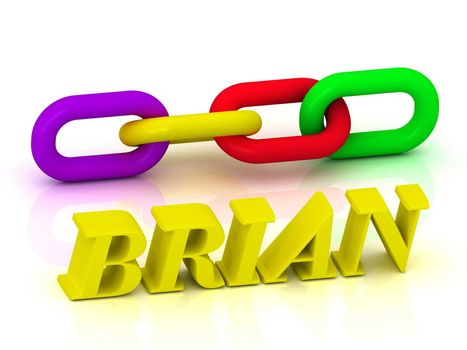 BRIAN- Name and Family of bright yellow letters and chain of green, yellow, red section on white background