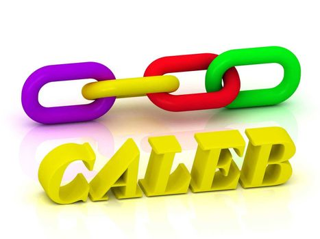 CALEB- Name and Family of bright yellow letters and chain of green, yellow, red section on white background