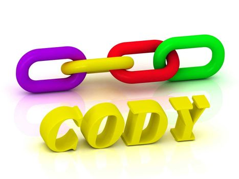 CODY- Name and Family of bright yellow letters and chain of green, yellow, red section on white background