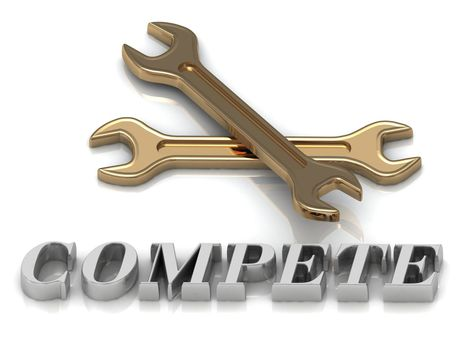 COMPETE- inscription of metal letters and 2 keys on white background