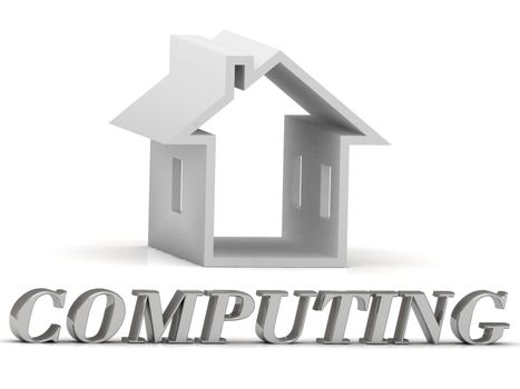 COMPUTING- inscription of gold letters and Graphic growth COMPUTING- inscription of silver letters and white house on white backgroundws on white background