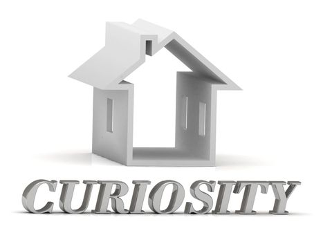 CURIOSITY- inscription of silver letters and white house on white background