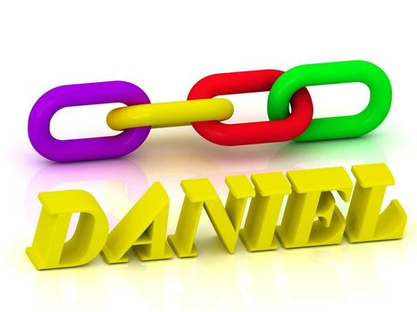 DANIEL- Name and Family of bright yellow letters and chain of green, yellow, red section on white background