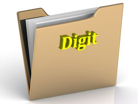 Digit- bright color letters on a gold folder on a white background