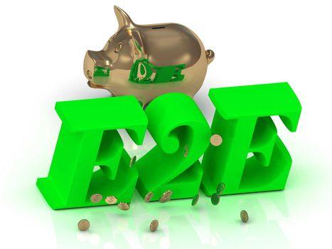 E2E - inscription of bright green letters and gold Piggy on white background
