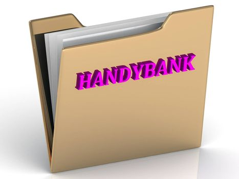HANDYBANK - bright color letters on a gold folder on a white background