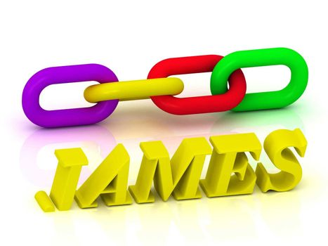 JAMES- Name and Family of bright yellow letters and chain of green, yellow, red section on white background