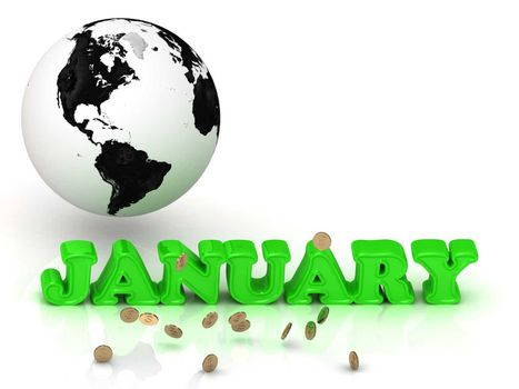 JANUARY- bright color letters, black and white Earth on a white background