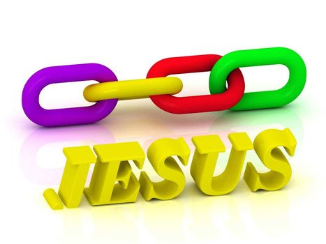 JESUS- Name and Family of bright yellow letters and chain of green, yellow, red section on white background