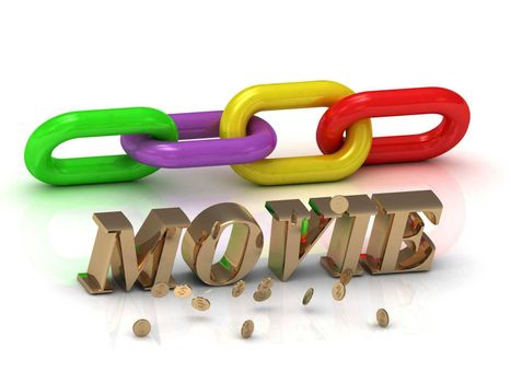 MOVIE- inscription of bright letters and color chain on white background