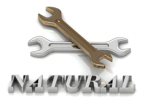 NATURAL- inscription of metal letters and 2 keys on white background