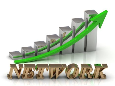NETWORK- inscription of gold letters and Graphic growth and gold arrows on white background