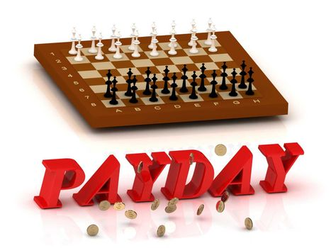 PAYDAY- inscription of color letters and chess on white background