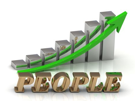 PEOPLE- inscription of gold letters and Graphic growth and gold arrows on white background