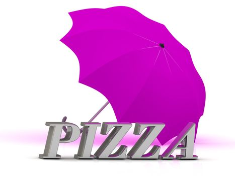 PIZZA- inscription of silver letters and umbrella on white background