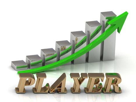PLAYER- inscription of gold letters and Graphic growth and gold arrows on white background