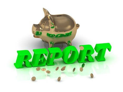 REPORT- inscription of green letters and gold Piggy on white background