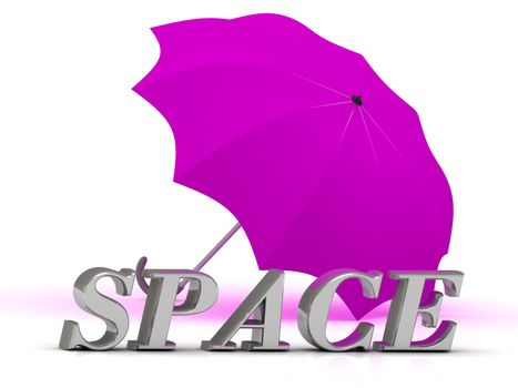 SPACE- inscription of silver letters and umbrella on white background