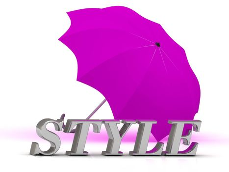 STYLE- inscription of silver letters and umbrella on white background