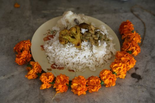 Food for religious worship, Buddhist temple in Howrah, West Bengal, India