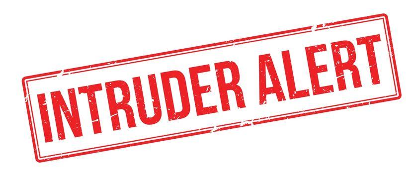 Intruder Alert red rubber stamp on white
