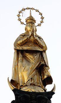 Gilded statue of Virgin Mary in Graz, Austria