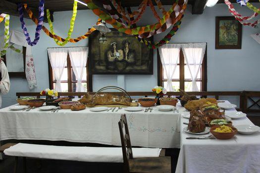 Festive table in Ethnological Folk Museum Staro Selo in Kumrovec, Northern County of Zagorje, Croatia