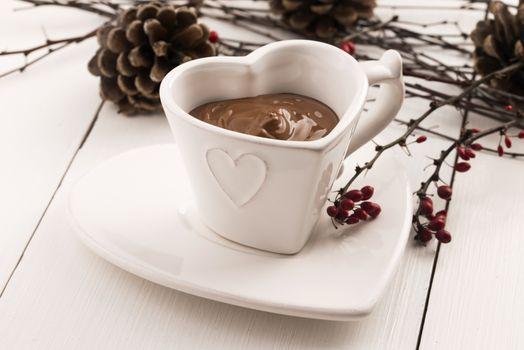 Valentine's day celebration with hot chocolate