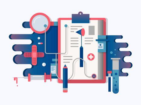 Doctor tools design flat. Health medical equipment for care, vector illustration
