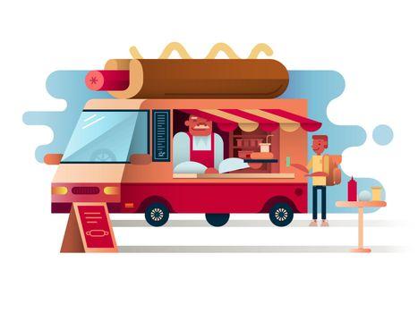 Cafe van hot dogs