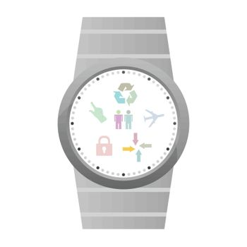 Smart watch with flat icons. Vector illustration. isolated on white