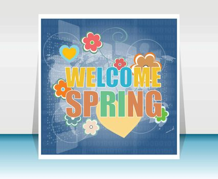 Welcome Spring Holiday Card. Welcome Spring Vector. Love background. Spring Holiday Graphic. Welcome Spring Art. Spring Holiday Drawing