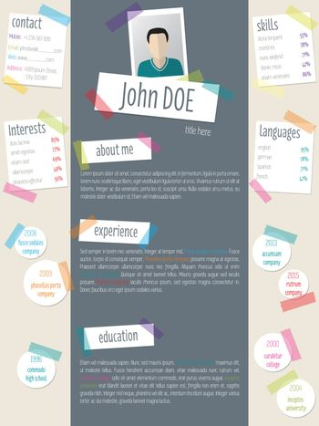 Modern resume cv template with tapes and post its