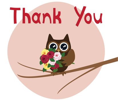 vector illustration of thank you card with owl holding roses
