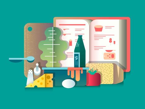 Book of recipes and products for cooking