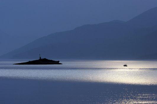 Moonlight on the Adriatic sea, Croatia