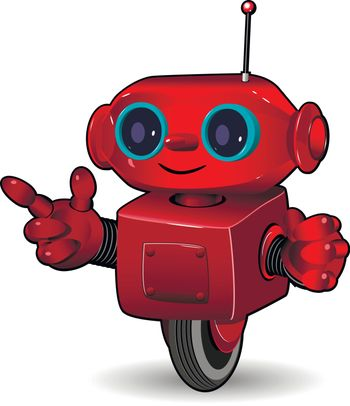 Illustration the red robot on the wheel