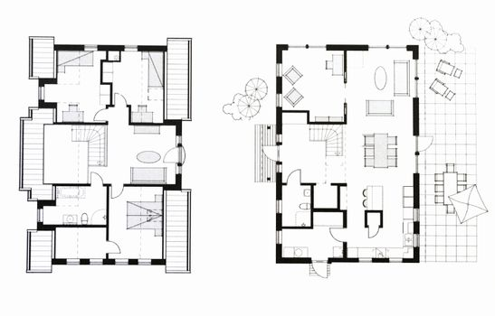 Architectural background - plan of the house - Illustration